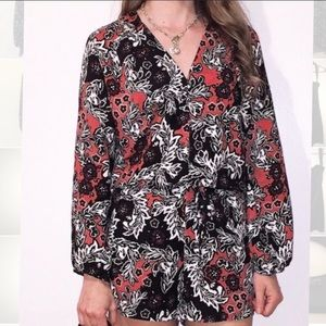 [H&M] Floral Long Sleeve Shorts Romper - Size 8